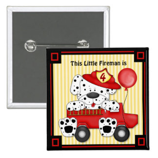 Poco bombero de Dalmation - personalizar Pin Cuadrada 5 Cm