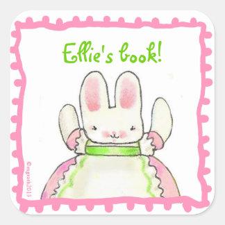 Poco bookplate rosado del conejito pegatina cuadrada