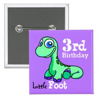 Poco botón de Pinback del dinosaurio del pie Pins
