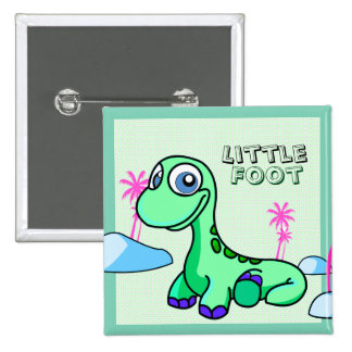 Poco botón de Pinback del dinosaurio del pie Pin Cuadrado