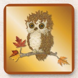 Poco búho del otoño Whoo Posavaso