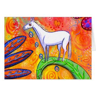 Poco caballo de la magia blanca tarjeta de felicitación