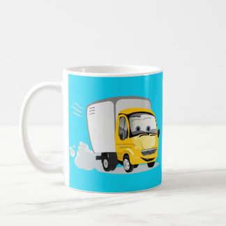 ¡Poco camión amarillo del dibujo animado para los Taza Básica Blanca