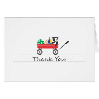 Poco carro rojo le agradece cardar tarjeta pequeña