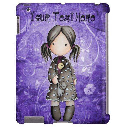 Poco chica del gótico con el caso del iPad del crá