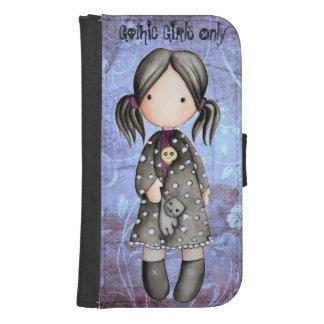 Poco chica del gótico con la caja de la cartera de fundas cartera para teléfono