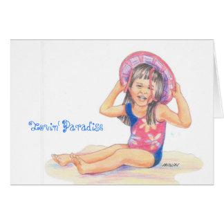 Poco chica hawaiano de la playa, paraíso de Lovin Felicitaciones