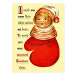 Poco chica rojo de la manopla postales