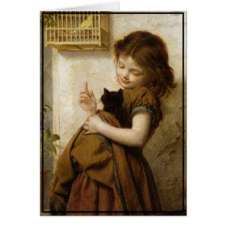 Poco chica toscano con el gatito y el pájaro tarjetón