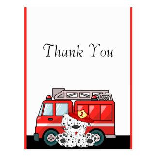 Poco coche de bomberos rojo, cumpleaños dálmata tarjeta postal