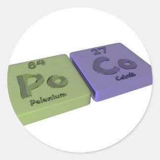 Poco como polonio del Po y cobalto del Co Pegatina Redonda