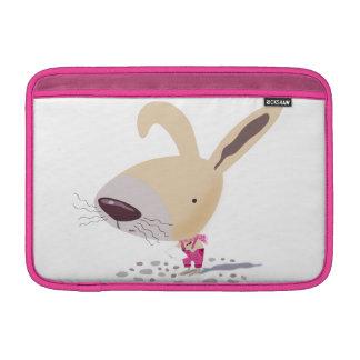 """Poco conejito en rosa jadea el aire 11"""" de Macbook Fundas MacBook"""