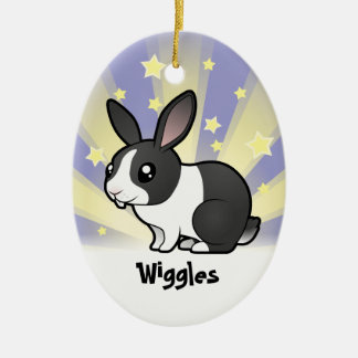 Poco conejo de la estrella (pelo liso del oído upp ornamento para arbol de navidad