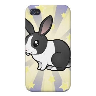 Poco conejo de la estrella (pelo liso del oído upp iPhone 4/4S funda
