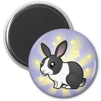 Poco conejo de la estrella (pelo liso del oído upp imán redondo 5 cm