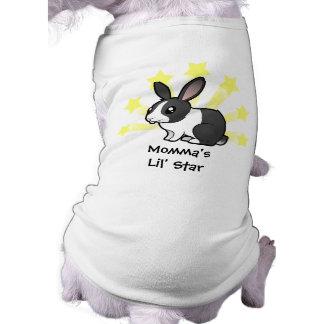 Poco conejo de la estrella (pelo liso del oído upp camisetas de perro