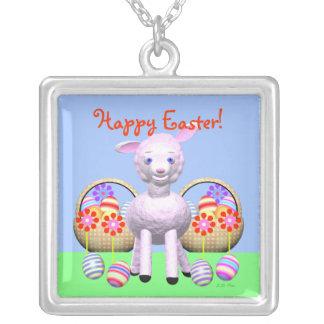 Poco cordero, huevos y flores de Pascua Colgante Cuadrado