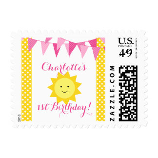 Poco cumpleaños del empavesado amarillo del rosa timbre postal