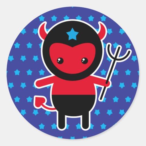 Poco diablo de Ninja del kawaii Pegatina Redonda