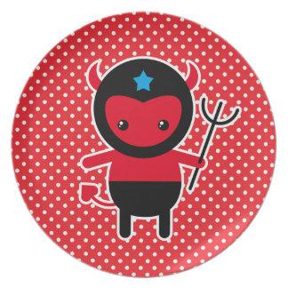 Poco diablo de Ninja del kawaii Platos