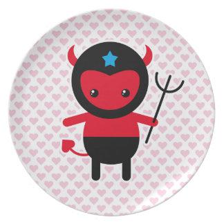 Poco diablo de Ninja del kawaii Platos De Comidas