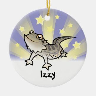 Poco dragón barbudo de la estrella/dragón de adorno navideño redondo de cerámica