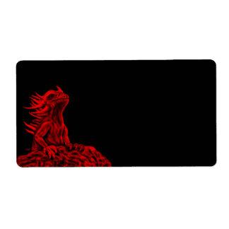 Poco dragón rojo etiquetas de envío