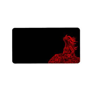 Poco dragón rojo etiqueta de dirección