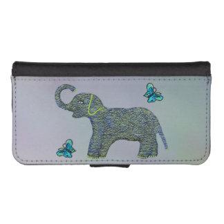 Poco elefante del jade fundas tipo cartera para iPhone 5