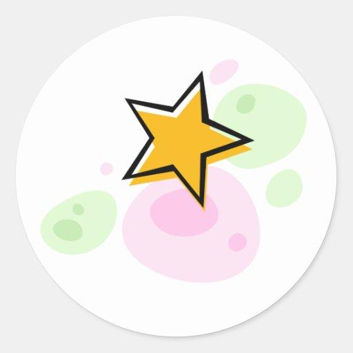 Poco estrella de oro en puntos verdes y rosados pegatina redonda