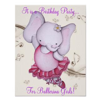 Poco fiesta del elefante de la bailarina del baile invitación 10,8 x 13,9 cm