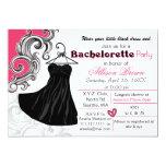 Poco fiesta negro del bachelorette del vestido invitacion personalizada