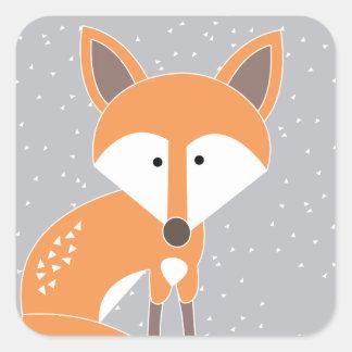 Poco Fox Pegatina Cuadrada