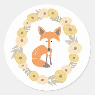 Poco Fox Pegatina Redonda