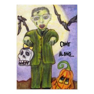 """Poco Frankenstein Halloween de encargo Invitación 5"""" X 7"""""""