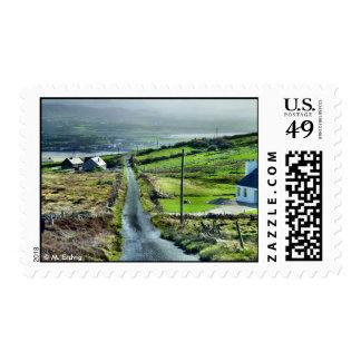 Poco franqueo irlandés del camino timbre postal