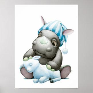 Poco G el rinoceronte del bebé y la impresión del Poster