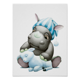 Poco G el rinoceronte del bebé y la impresión del Póster