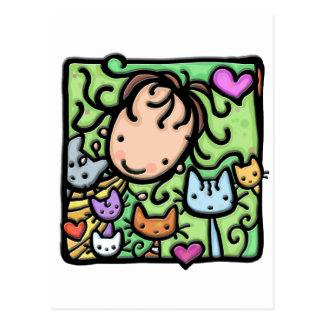 Poco Girlie y sus gatitos Postal