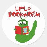 Poco gusano de libro etiqueta redonda