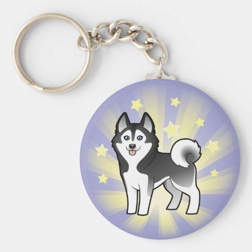 Poco husky siberiano de la estrella/Malamute de Al Llavero Personalizado