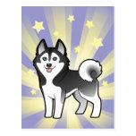 Poco husky siberiano de la estrella/Malamute de Al Tarjeta Postal