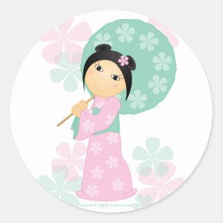 Poco kimono pegatina redonda