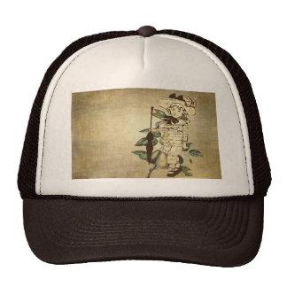 Poco muchacho del vintage en atuendo del vintage c gorras