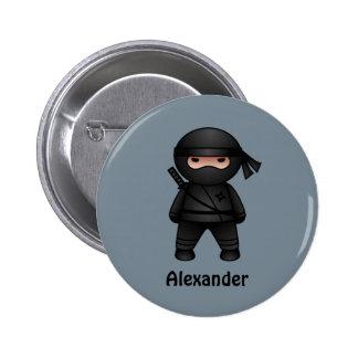 Poco Ninja en gris Pin Redondo De 2 Pulgadas