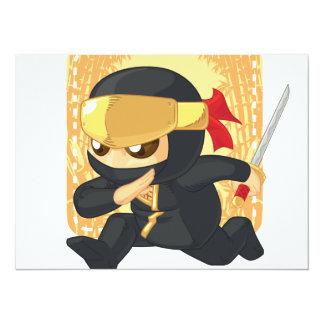 """Poco Ninja que sostiene la espada japonesa Invitación 5.5"""" X 7.5"""""""