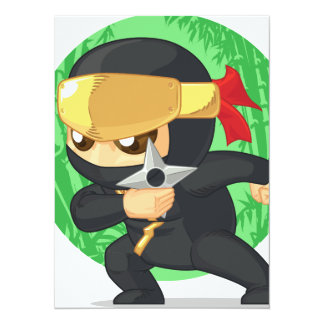 """Poco Ninja que sostiene Shuriken Invitación 5.5"""" X 7.5"""""""