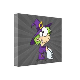 poco niño de la bruja de Halloween Impresión En Tela