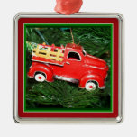 Poco ornamento rojo del navidad del camión de reco ornamento para reyes magos
