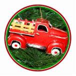 Poco ornamento rojo del navidad del camión de reco escultura fotográfica